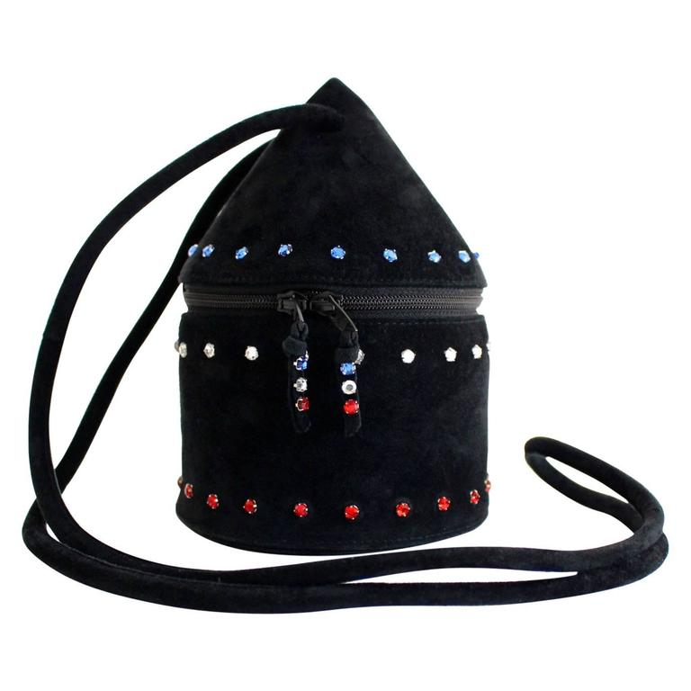 1980s Maud Frizon Sculptural Black Suede Jeweled Minaudiere Shoulder Bag For Sale