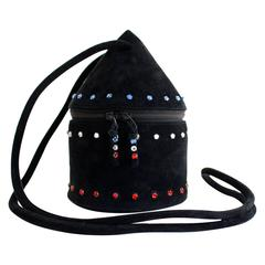 1980s Maud Frizon Sculptural Black Suede Jeweled Minaudiere Shoulder Bag