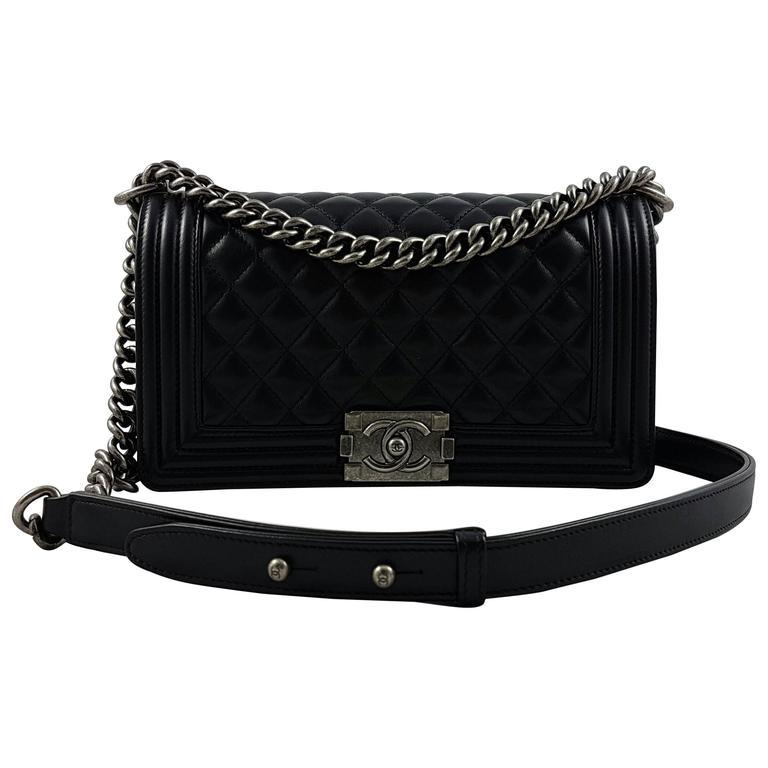 babb96669fcb Chanel Boy Bag Medium Black Silver Hardware | Stanford Center for ...
