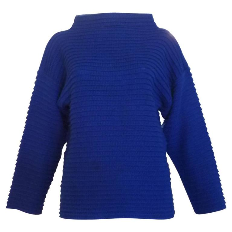 1970s Mary Quant Cobalt Blue Sweater (s)