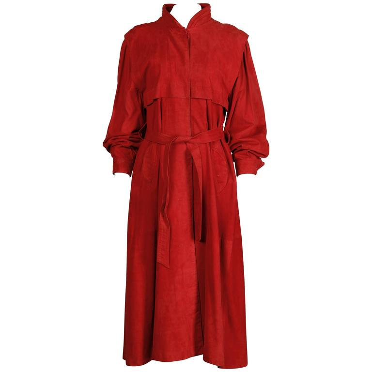 Fendi Vintage 1990s Red Suede Leather Trench Coat + Matching Sash Belt