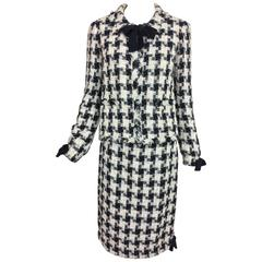 Chanel 04A metallic tweed check skirt set with bow trims 38