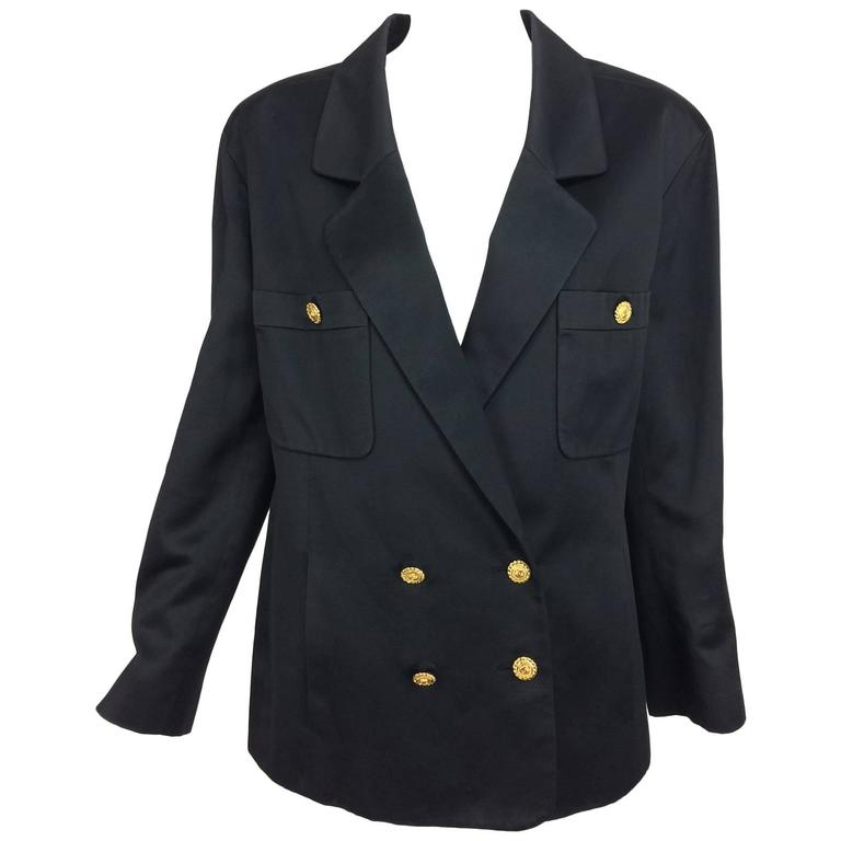 Vintage Chanel black silk double breasted pea coat jacket 42 For Sale