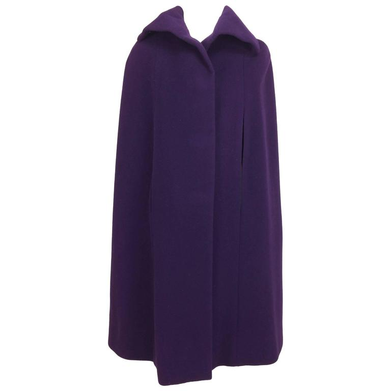 Vintage Pauline Trigere purple wool cape 1970s 1