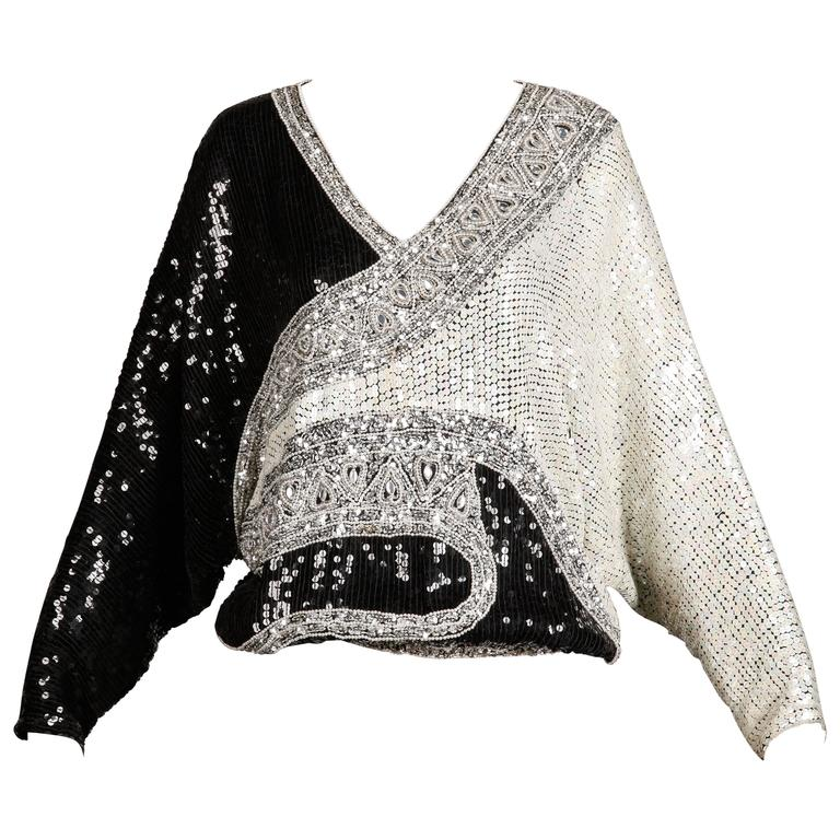 Judith Ann Vintage Metallic Embellished Sequin + Beaded Dolman Silk Top