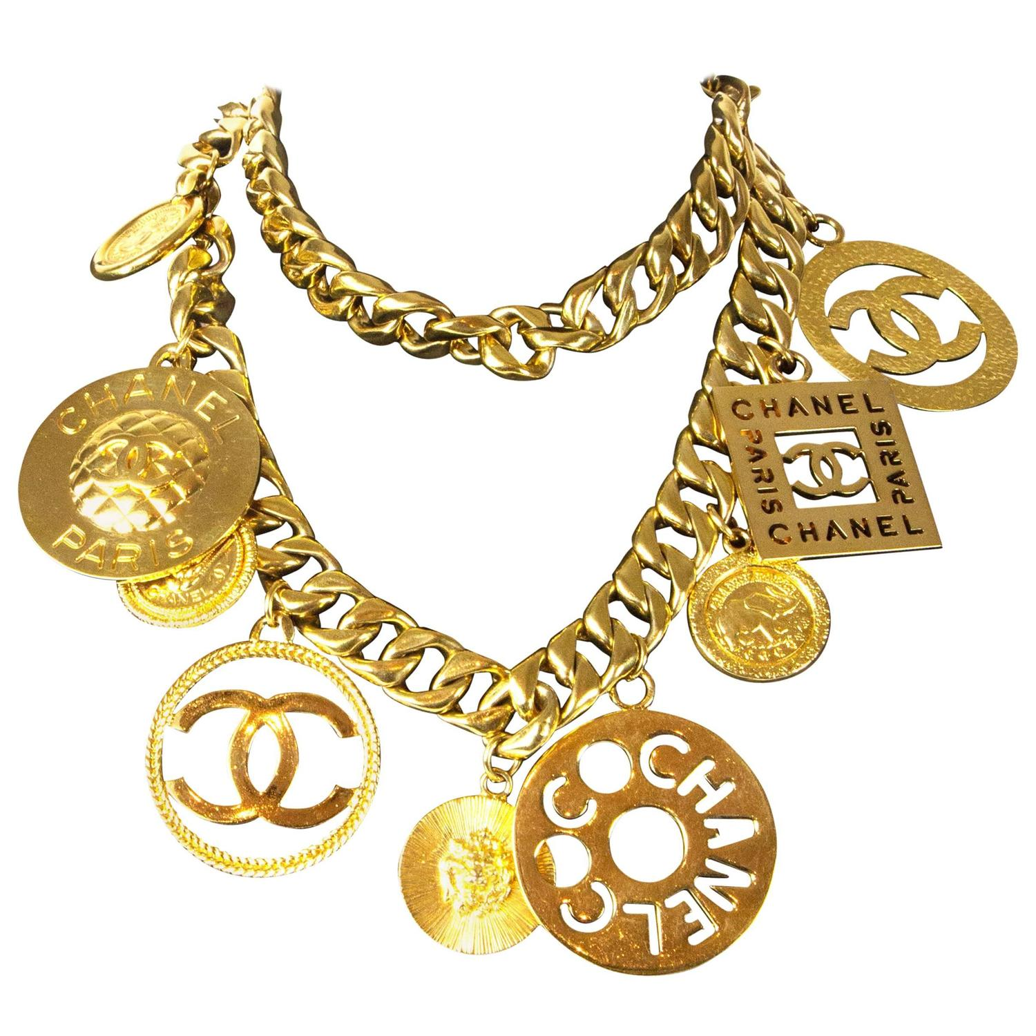 vintage cc at jewelry v charm id gold master chanel and star necklace logo medallion coin belt necklaces chain
