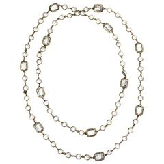 "Chanel Chicklet Necklace - 64"" - Clear Gripoix Glass Gold Vintage 1981 Chain CC"