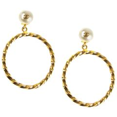 Chanel Pearl Hoop CC Earrings - Large Vintage Twisted Gold Clip On 96A Ear Rings