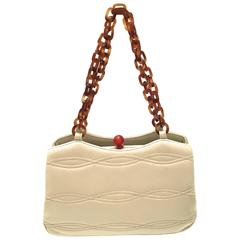 Rare 1950's Morris Moscowitz Beige Leather Purse - Bakelite Hardware