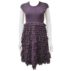 Alexander McQueen Aubergine Knitted Dress with Tiered Lace Ruffle Skirt