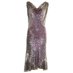 Zac Posen Runway Sleeveless Evening Dress Paillettes Flounce Hem, Spring 2004