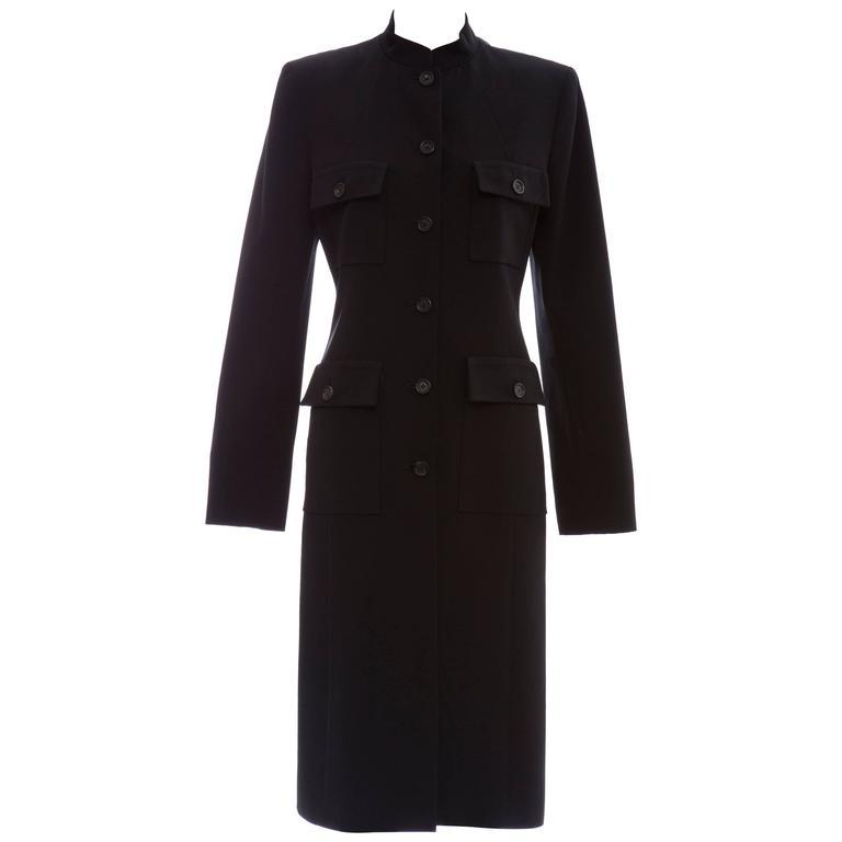 Michael Kors For Celine Black Wool Lightweight Gabardine Button Front Coat