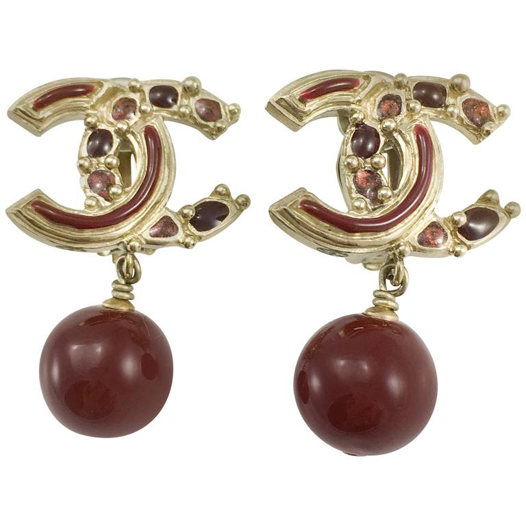 Chanel Paris-Bombay Collection Red Gripoix Dangling Earrings - Circa 2012 For Sale