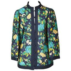 Yves Saint Laurent Floral Print Quilted Jacket