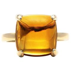 "TIFFANY & CO. ""Sugar Stacks"" PALOMA PICASSO Square Citrine 18 K Gold Ring Sz 10"