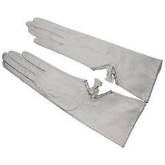 Vintage Roger Fare French White Kidskin Gloves, Never Worn