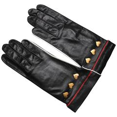 Vintage 1980s Escada Black Leather Gloves with Heart Studs, Never Worn