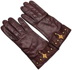 1980s Escada by Margaretha Ley Brown Leather Gloves, Never Worn