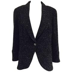 Chanel Black and White Tweed Cutaway Jacket W Zipper Piping & Trim Size 48