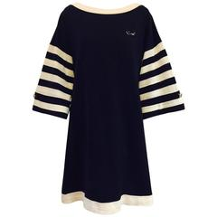 Chanel Navy and Ivory Striped Cotton Bateau Shift Dress With Gondola Pin