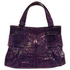 Nancy Gonzalez Aubergine Crocodile Structured Hand Bag With Covered Feet