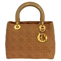 Christian Dior Camel Nylon Lady Dior MM Hand Bag