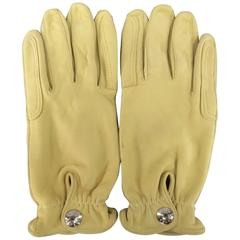 Hermes Vintage Size 7 1/2 Beige Leather Silver Snap Closure Gloves