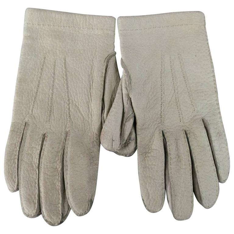 Hermes Vintage Size 7 1/2 Ivory Textured Leather Gloves