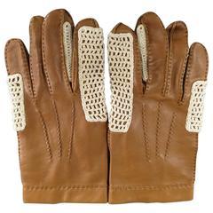 Vintage HERMES M Light Brown Leather Knit Mesh Detail Gloves