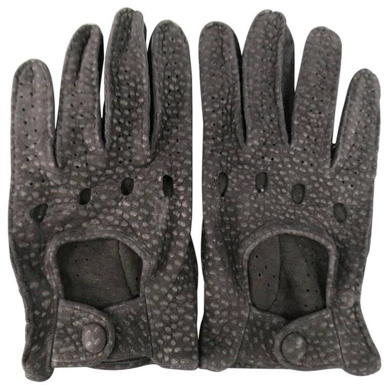 Vintage FIOCCHI Gloves - Size 8 Black Perforated Spotted Suede Driving Gloves