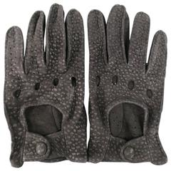 Vintage FIOCCHI Size 8 Black Perforated Spotted Suede Driving Gloves