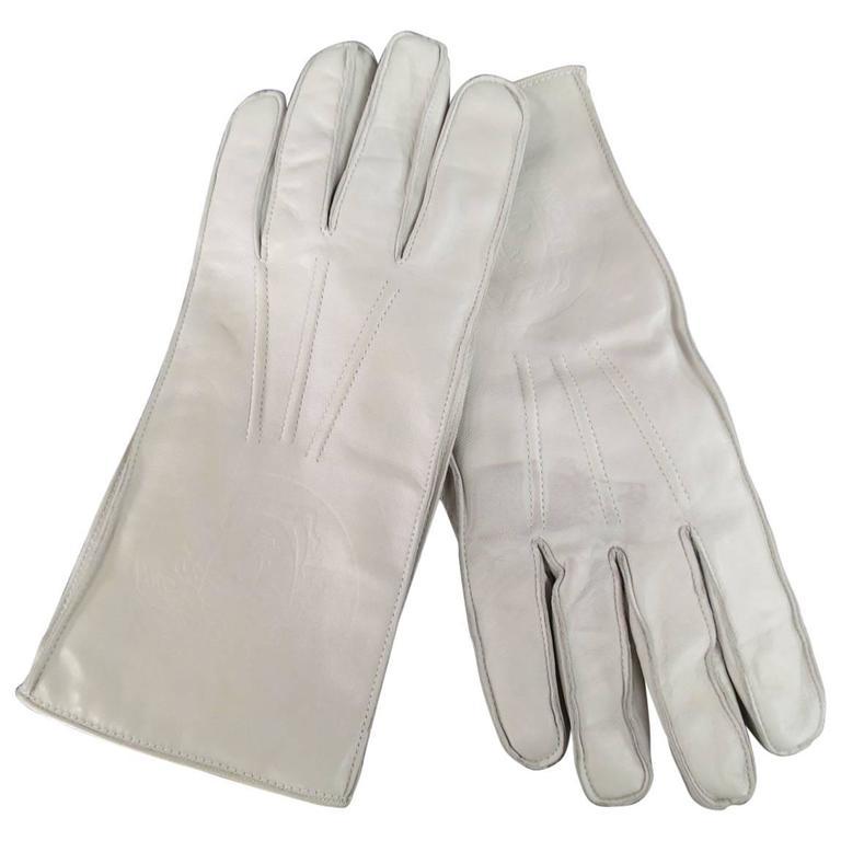 Vintage GIANNI VERSACE Gloves Size M Ivory Medusa Embossed Leather Gloves
