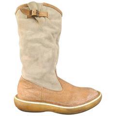 Men's KAPITAL Size 9 Tan & Gray Suede Calf High Popeye Boots