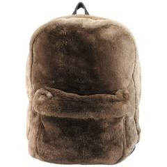 MARC JACOBS Taupe Brown Beaver Fur & Leather Backpack