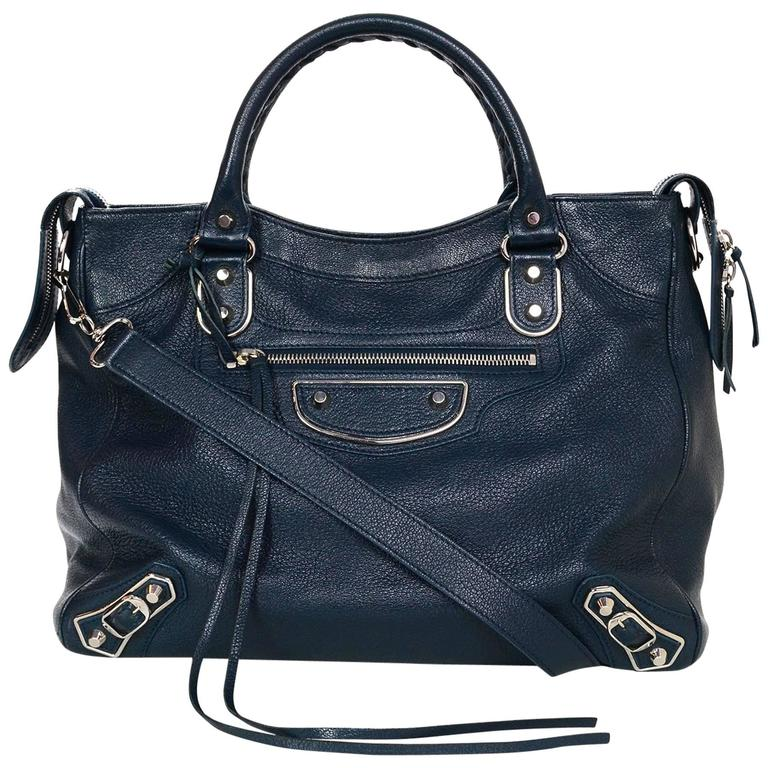 Balenciaga Blue & Silvertone Metallic Edge Messenger Satchel Bag