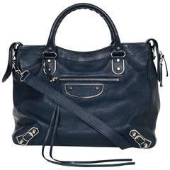 Balenciaga Blue & Silvertone Metallic Edge Messenger Satchel Bag