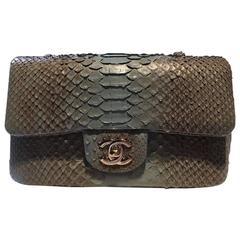 Chanel Green Python Rectangular Mini Classic Flap Bag