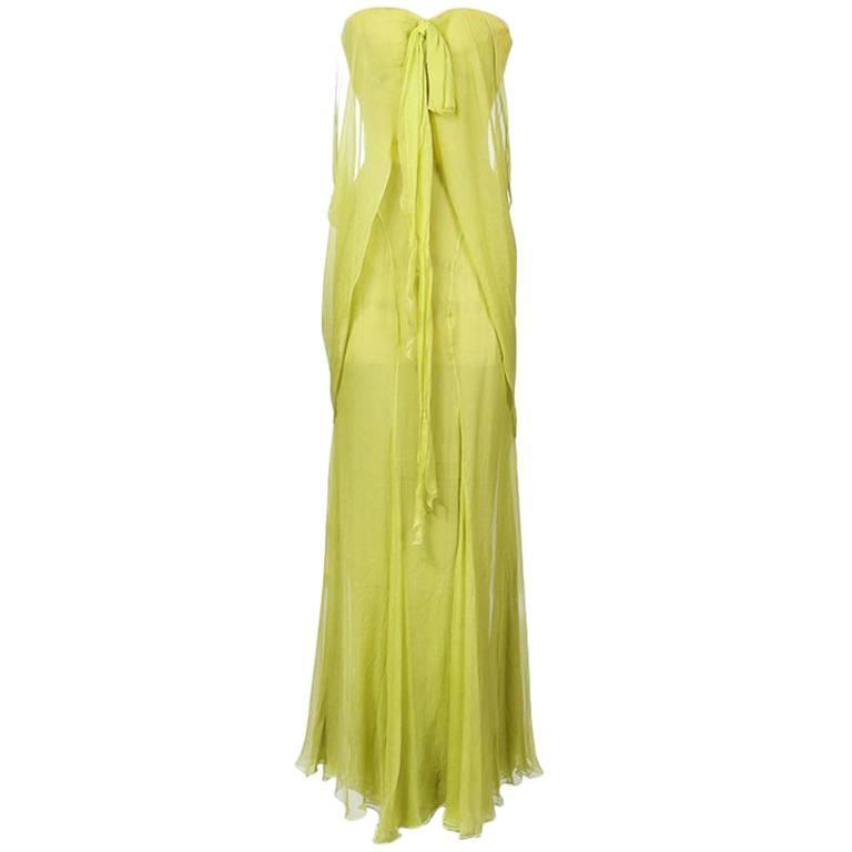 Thierry Mugler Silk Chiffon Gown 1980s