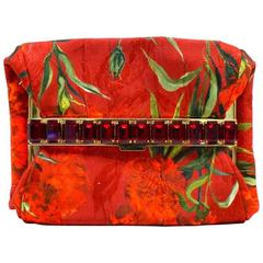 Dolce & Gabbana Red Emerald-Cut Jewel-Embellished Clutch