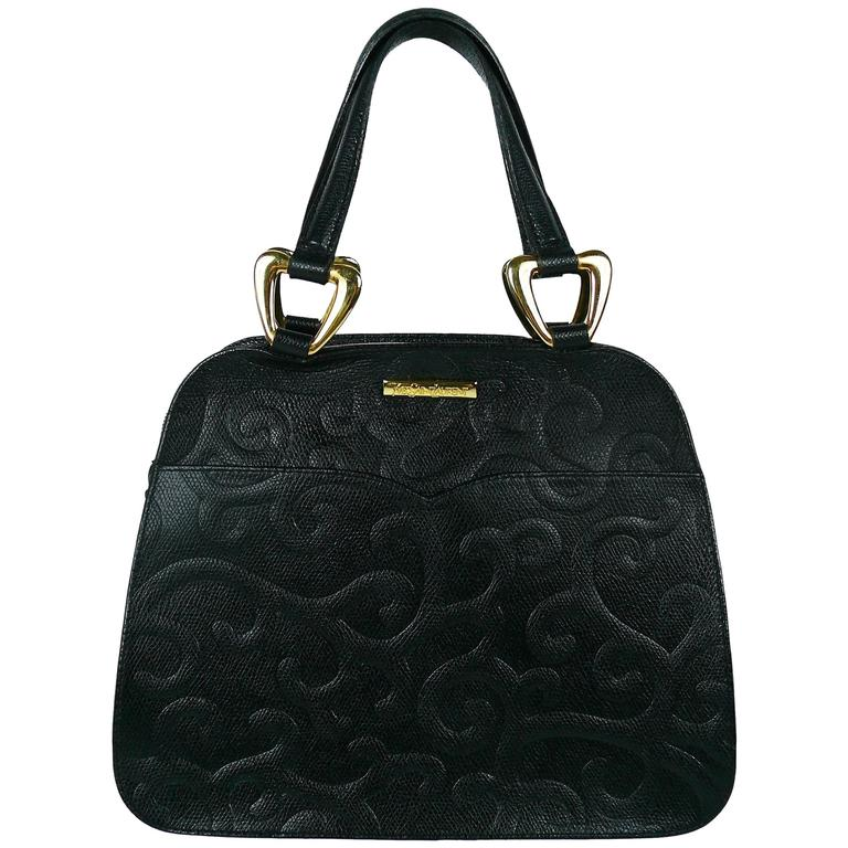 77e9199cde Yves Saint Laurent YSL Vintage Black Leather Arabesque Handbag For Sale at  1stdibs