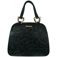 Yves Saint Laurent YSL Vintage Black Leather Arabesque Handbag