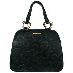 Yves Saint Laurent YSL Vintage Black Leather Arabesque Handbag
