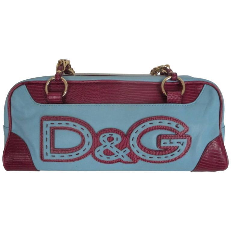 Dolce & Gabbana Turquoise Leather Shoulder Bag