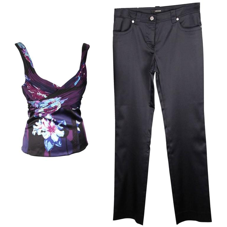 VERSACE Blue Silk TOP & Satin PANTS Trousers SET Size 40-42