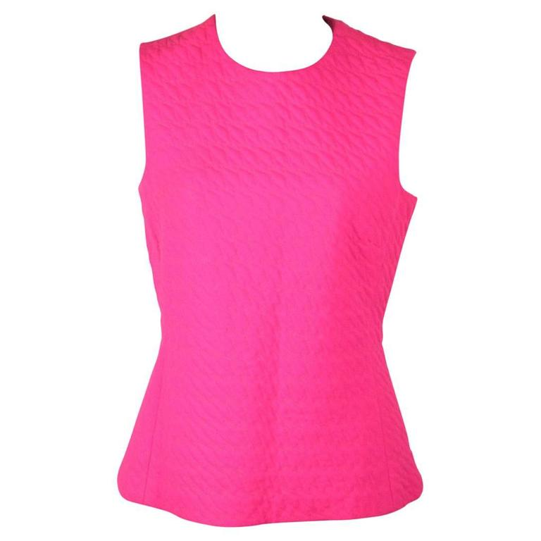 CHRISTIAN DIOR Fluo Fuchsia Wool SLEEVELESS Shell TOP Size 42 1