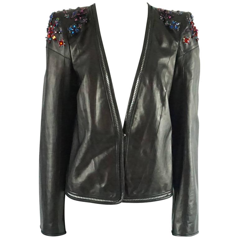 Roberto Cavalli Black Leather Jacket with Rhinestone and Sequin Detailing - 44