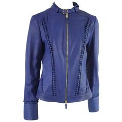 Roberto Cavalli Blue Leather with Front Zip and Braided Detail - 44
