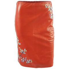 Ralph Lauren Red Leather Skirt with Embroidery - 10