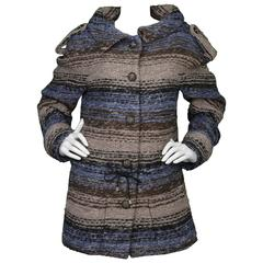 Chanel Blue & Grey Heavy Knit Sweater Coat sz FR40