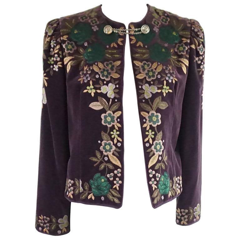 Oscar de la renta vintage purple embroidered velvet jacket